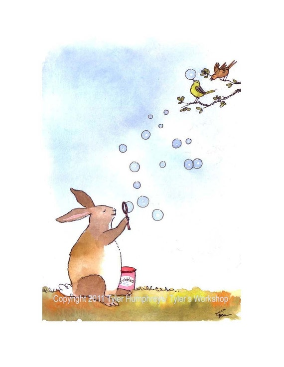 Bunny Rabbit Greeting Card - Funny Bunny & Birds Watercolor Painting/ Illustration Cartoon Print 'Bubble Bunny'