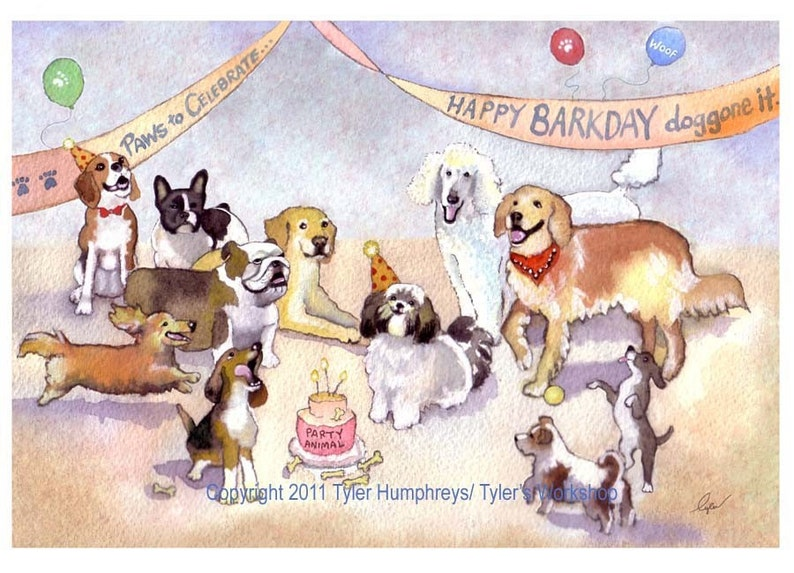 Dog Birthday Card Greeting Funny Blank Illustrated