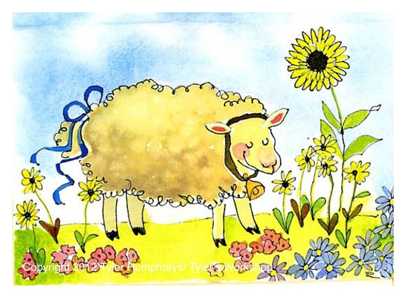 Lamb/ Sheep Art - Easter Card - Sheep Watercolor Painting Illustration- Funny Sheep Greeting Card- Sheep Print 'Sunflower Sheep'