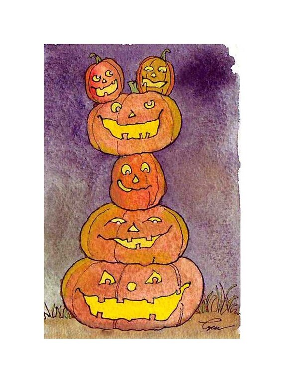 Halloween Card Pumpkins Jack O Lanterns Greeting Card Spooky Pumpkins Watercolor Painting Greeting Card Print 'Pumpkin Pile Up'