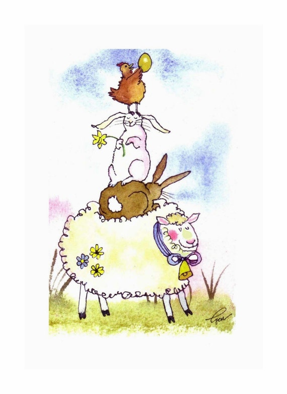 Funny Watercolor Animals Card -  Easter Card - Spring Greeting Card - Farm Animals Illustration Print - Chicken Rabbit Bunny Sheep Art
