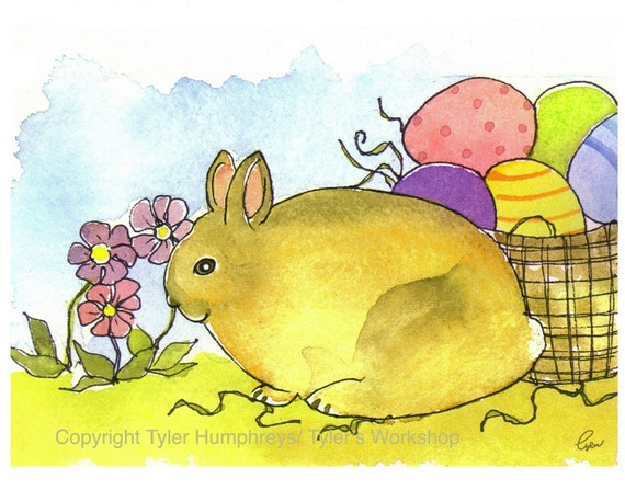 Easter Card / Bunny Card / Kids Card / Childrens Easter / Easter Greeting Card