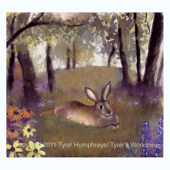 Blank Greeting Card - Rabbit Greeting Card - Flowers Garden Forest Watercolor Rabbit Bunny Painting Illustration Print