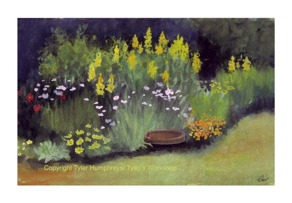 Blank Card - Greeting Card - Summer Flowers Garden Greeting Card - Garden Landscape Watercolor Painting Illustration Print