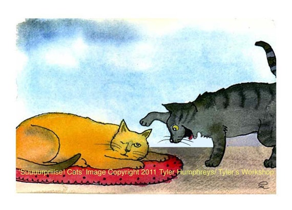 Cat Greeting Card - Funny Cat Card - Cats Cartoon Watercolor Painting illustration Print 'Surprise Cats'