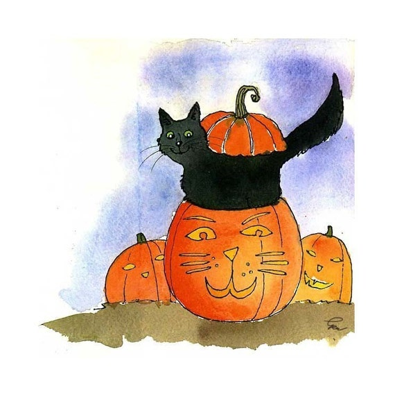 Halloween Greeting Card, Halloween Card, Funny Black Cat Halloween Card, Cat Greeting Card, Funny Pumpkin Cat Cartoon Illustration