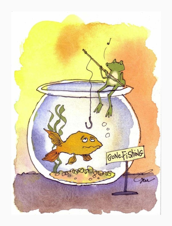 Frog Art, Funny Frog Card, Fishing Frog Goldfish Watercolor Gouache Painting Frog Cartoon Frog Illustration Print 'Gone Fishing'