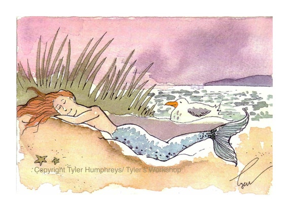 Mermaid Card - Painting Of Mermaid - Fantasy Illustration - Mermaid Greeting Card - Mermaid Illustration Print - 'Sleeping Beauty Mermaid'
