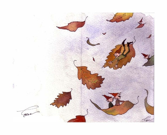 Fairy Elf Gnome Card- Autumn Fall Fantasy Greeting Card Watercolor Painting Print 'Leaf Elves'