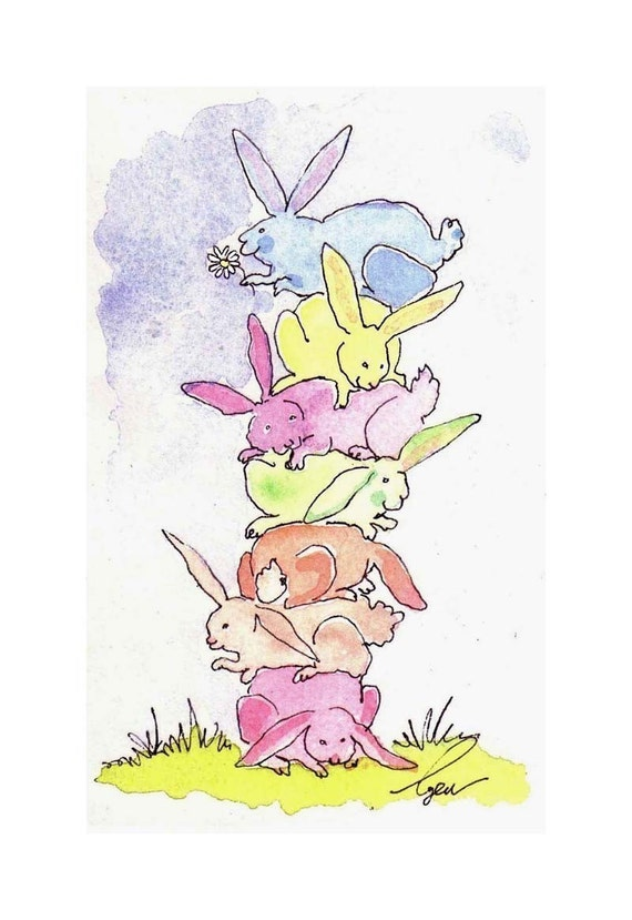 Funny Bunny Rabbit Card - Easter Greeting Card - Rabbit Art - Rabbit Card - Pastel Bunny Rabbit Watercolor Painting Illustration Print 4x6