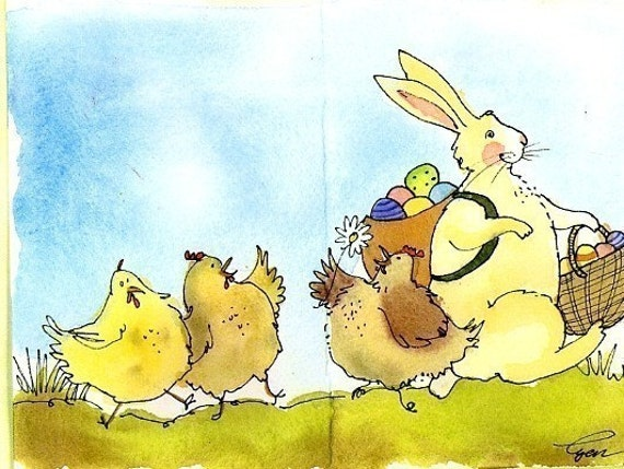 Funny Easter Card, Easter Bunny Greeting Card, Spring Easter Bunny & Chickens Watercolor Card, Easter Card for Children, Kids Easter Card