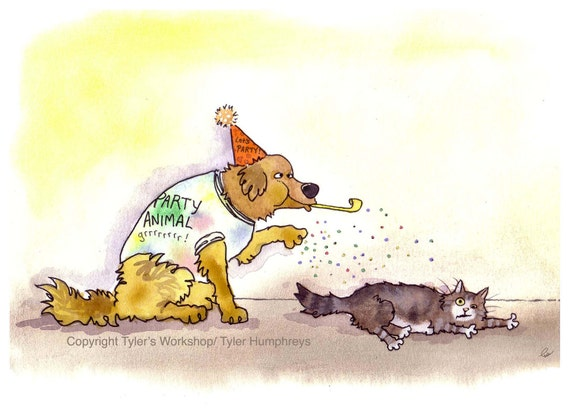 Funny Cat & Dog Card, Party Animals Dog and Cat Greeting Card, Funny Pets Birthday Card, Animal Illustration Cartoon, Blank Animal Card