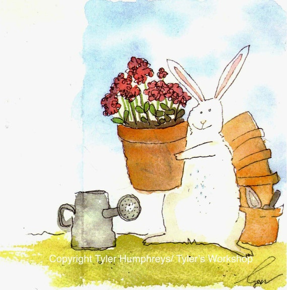 Bunny Rabbit Greeting Card Flower Garden Red Geraniums Watercolor Illustration Print, Funny Bunny Rabbit Card, Mothers Day Card,