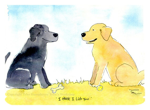 Funny Dog Card, Dog Greeting Card, Labrador Retriever Dog Card, I Love You Watercolor Dog Card, Dog Illustration, Blank Dog Card, Dog Print