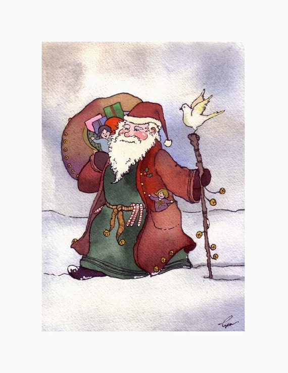 Santa Clause Card, Santa Christmas Greeting Card, Santa Watercolor Christmas Card, Christmas Painting Illustration Print, Santa Clause Art