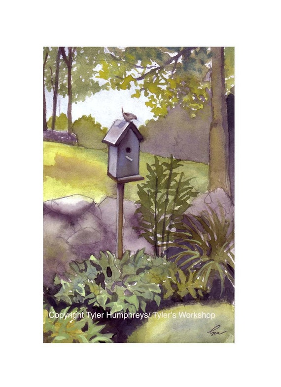 Handmade Watercolor Card, Bird Card, Blue Birdhouse Card, Bird Art, Landscape Watercolor Country Rural Painting Print Bird Illustration