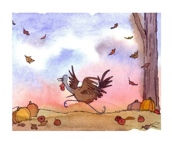 Thanksgiving Card - Funny Thanksgiving Turkey Greeting Card - Fall Autumn Watercolor Painting Illustration Cartoon Print 'Turkey Trot'
