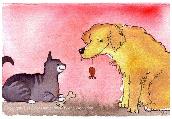 Funny Cat & Dog Card Love Friendship Card - Valentine Card - Cat Art - Dog Art - Pets Watercolor Painting - Cat and Dog Greeting Card