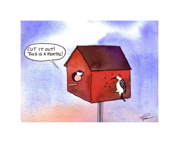Funny Greeting Card - Humor Bird Card - Birds and Birdhouse Cartoon Greeting Card Watercolor Print 'Birdbrain Rental'