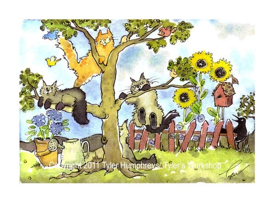 Cat Art, Funny Cats Greeting Card, Cat Watercolor Painting Print, Cat Illustration 'In The Garden Of Kitty Delights'