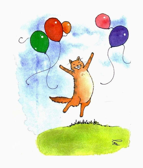 Cats, Funny Cat Greeting Card, Cat  Card, Cat Art, Tabby Cat Watercolor Painting Print 'Purrrfect Day'