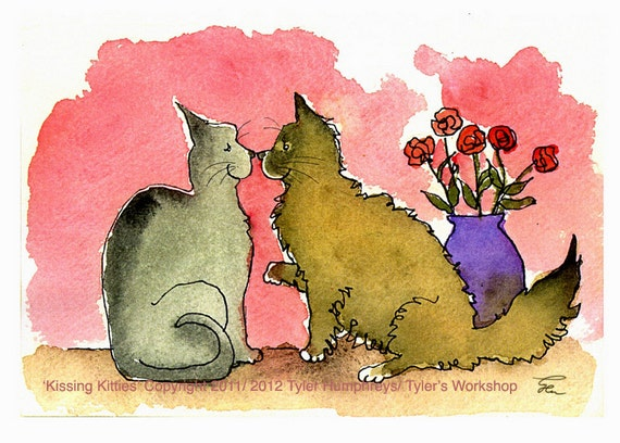 Funny Cats Greeting Card - Funny Cats Valentines Card - Watercolor Cats Illustration Print 4x6 'Kissing Kitties'