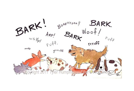 Funny Dog Card  - Blank Dog Greeting Card - Dog Watercolor Card - Funny Barking Dogs Watercolor Painting Cartoon Print 'Bark Ruff Woof'