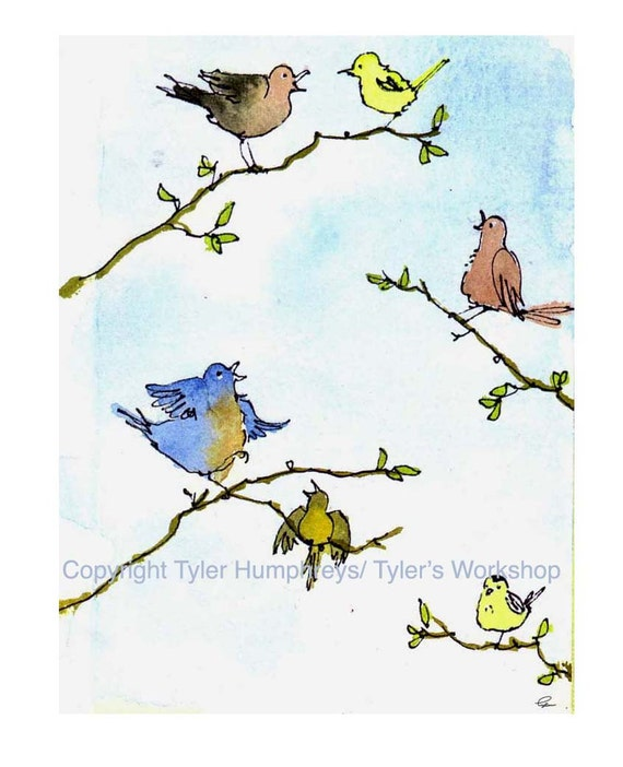 Bird Greeting Card - Easter Cards - Card for Spring - Watercolor Birds Cartoon Illustration - Easter Card 'Songs Of Spring'