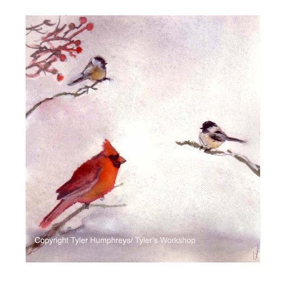 Winter Birds Greeting Card - Cardinal Chickadees Birds Watercolor Winter Illustration Painting Illustration Print - Wild Bird Christmas Card