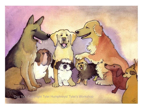 Dog Card - Funny Dog Art - Dog Breeds - Watercolor Dogs Golden Retriever German Shepherd Chihuahua Bulldog Labrador 'Dog Talk'