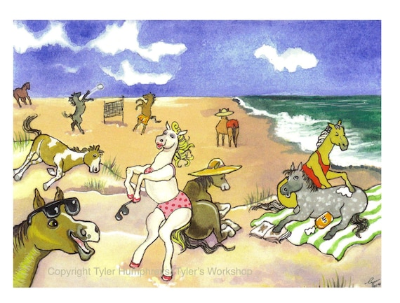 Horses - Funny Horse Card - Watercolor Horse Art - Horse on Beach Illustration