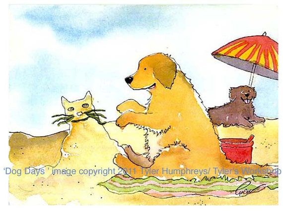 Funny Dog Greeting Card Golden Retriever Beach Blank Card Dog Birthday Card Thank You Card Dog Illustration 'Dog Days'