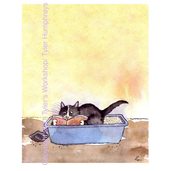 Funny Cat Card, Cat Greeting Card, Cat Cartoon, Watercolor Cat Illustration Print , Offbeat Sarcastic Funny Card Cats 'Litterbox Leisure'