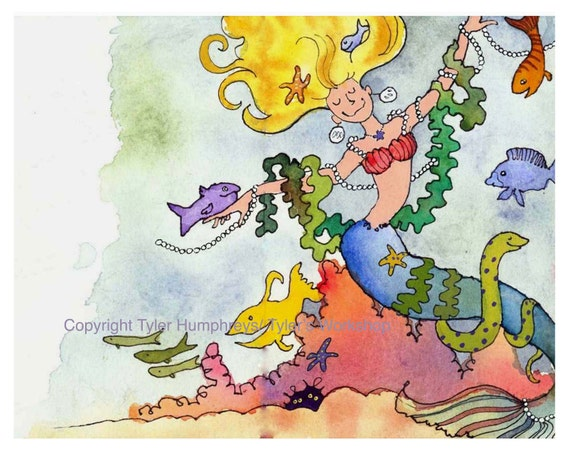 Mermaid Card, Mermaid Art, Funny Fish Mermaid Greeting Card Mermaid Watercolor Painting/ Illustration Print 'Mermaid Princess'