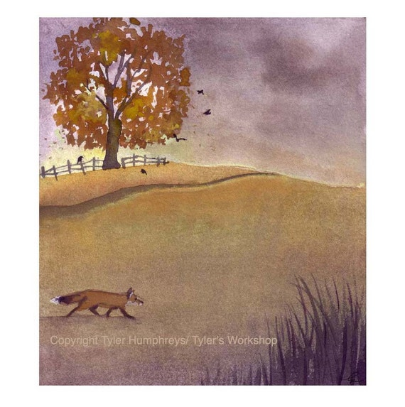 Autumn Card - Watercolor Greeting Card - Red Fox Illustration - Rural Landscape Watercolor Gouache Painting Illustration Print
