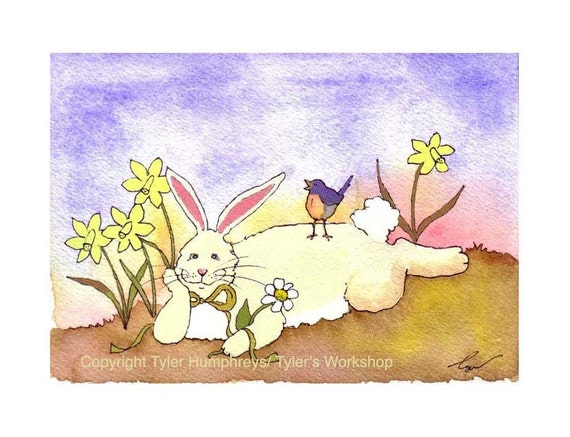 Easter Card - Funny Easter Greeting Card Spring Watercolor Card Bunny Rabbit Art Bunny Bluebird Daffodils Watercolor Painting Print 5x7