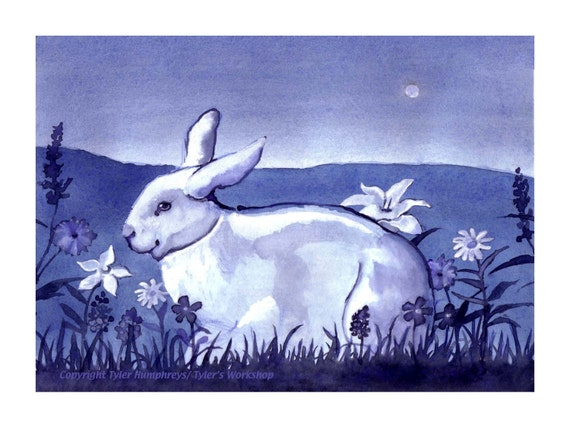 Easter Card - Easter Greeting Card - Rabbit Card - Flowers Garden - Nature Landscape Rabbit Watercolor Painting - Spring Card