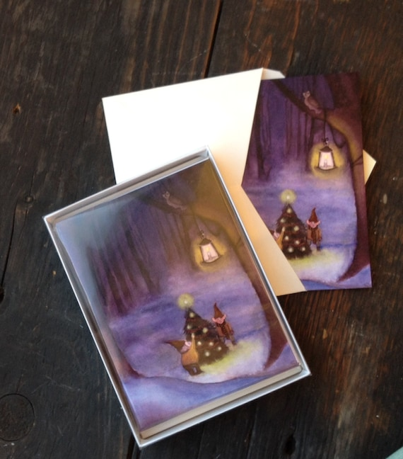 Gnome Christmas Cards Set of 12 Discount Price Over 30% Off, Handmade Christmas Greeting Cards, Christmas Elves Gnomes