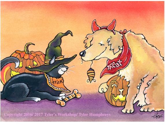 Halloween Card Handmade Halloween Greeting Card Halloween Pets Cat and Dog Funny Halloween Card 'Hairy Halloween'