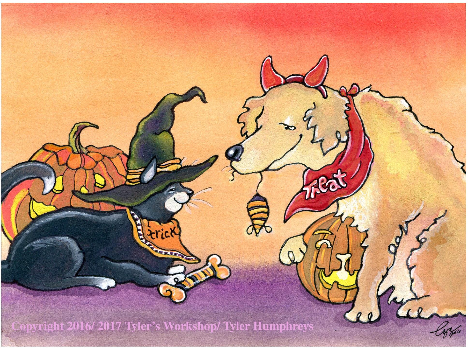 Halloween Card Handmade Halloween Greeting Card Halloween Pets Etsy