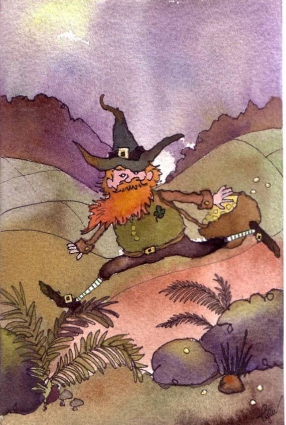Leprechaun Art, Funny Leprechaun Greeting Card, St Patricks Day Leprechaun Gnome Elf Fairy Card, Leprechaun Watercolor Painting  Print