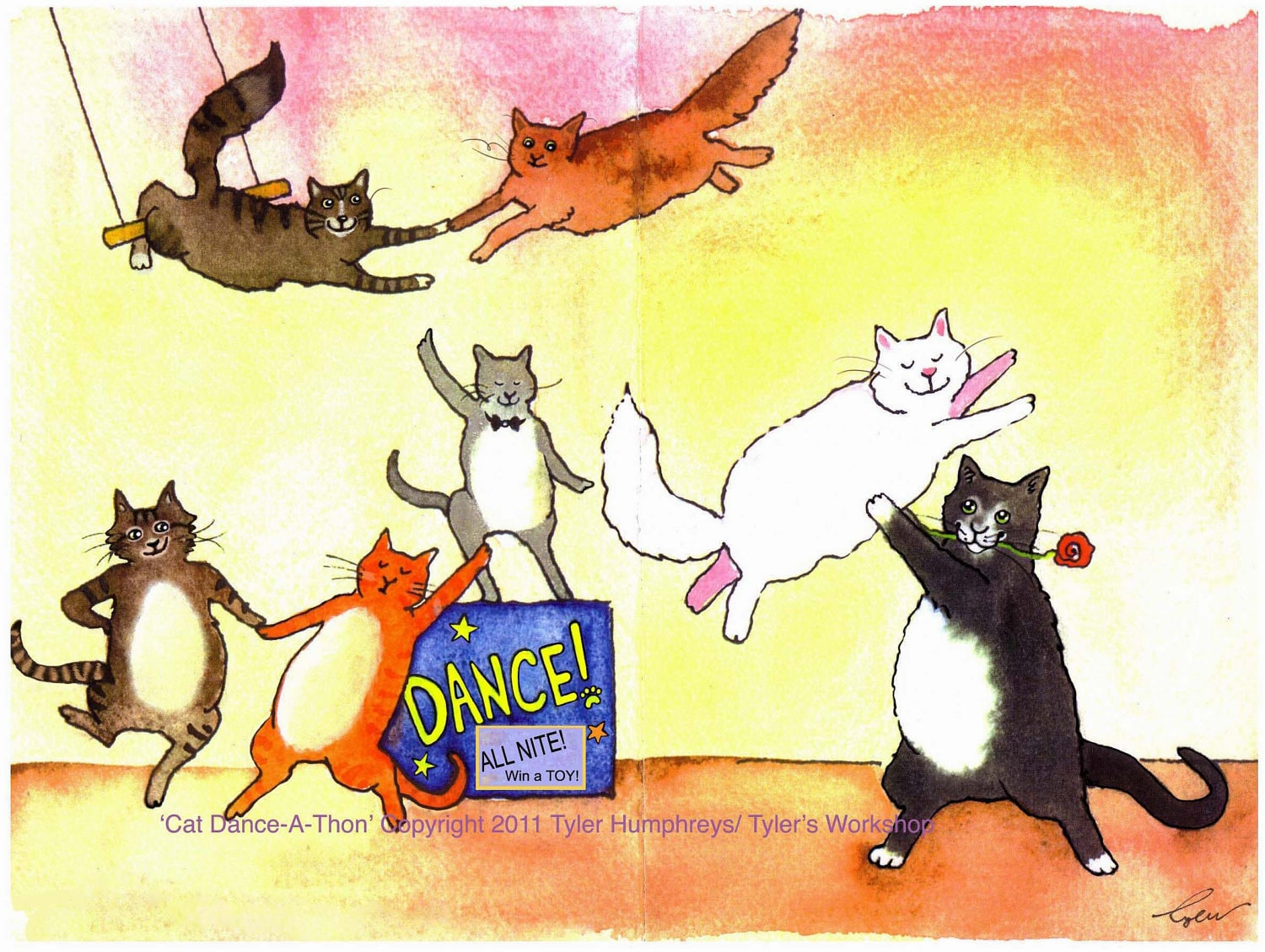 Dancing Cats Greeting Card Funny Cats Card Cat Watercolor Etsy
