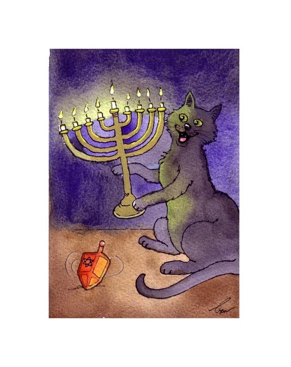 Hanukkah Cat Watercolor Card Print