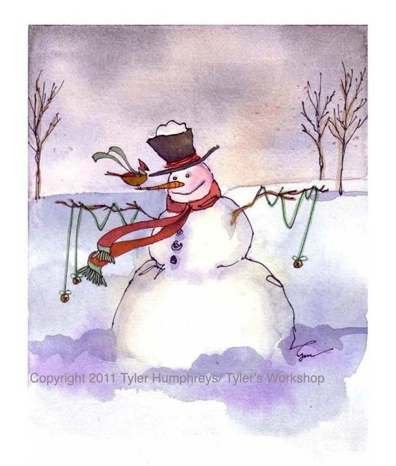 Snowman Christmas Greeting Card, Snowman Card, Snowman Art, Snowman Greeting Card, Snowman lllustration Winter Watercolor Painting Print
