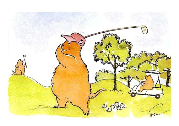 Golf Gophers Animals Father Son Mother Daughter Sports Watercolor Painting Greeting Card Print 'Golphing Gophers'