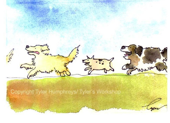 Dog Card - Dog Greeting Card - Funny Dog Card - Blank Dog Card - Dog Birthday Card - Dog Art - Watercolor Dogs - Funny Dog Painting