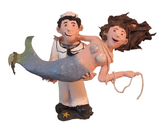 Paper Mache Mermaid & Sailor Wedding Cake Topper - Sailor Mermaid Art Doll Paper Sculpture  - Made To Order