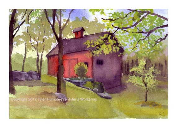Old Red Barn Greeting Card - Country Landscape Watercolor Painting Print
