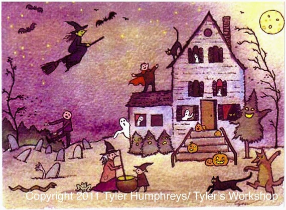 Haunted House Halloween Greeting Card, Halloween Card, Handmade Halloween Card, Handmade Greeting Card, Halloween Greeting