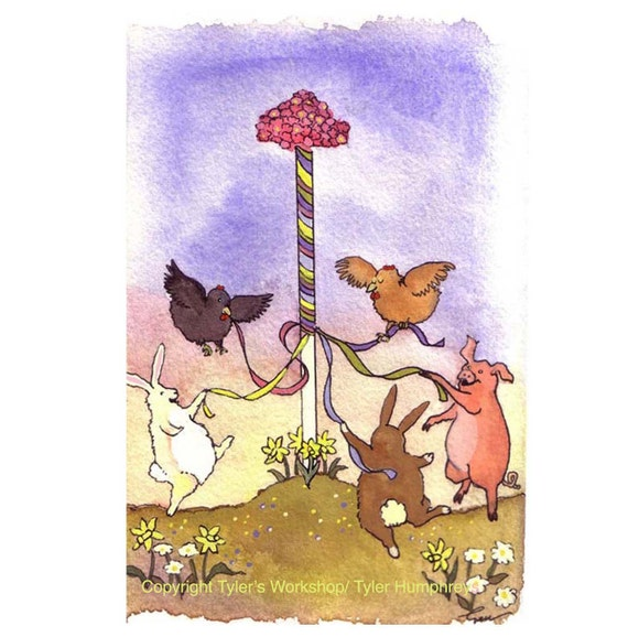 Cards For Spring, May Day Funny Watercolor Animals Greeting Card, Bunny Rabbits Pig Chickens Farm Animals, 'Around The Maypole'